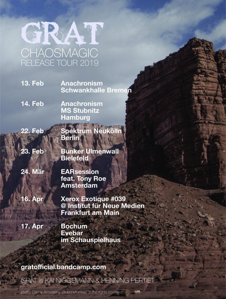 GRAT CHAOSMAGIC RELEASE TOUR 2019 Flyer (text unter dem Bild ist identisch mit Flyertext)