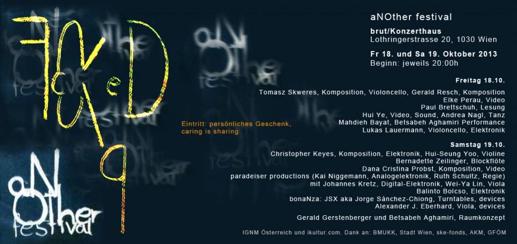 Flyer für das aNOther Festival 2013, im Konzerthaus Brut, Wien
