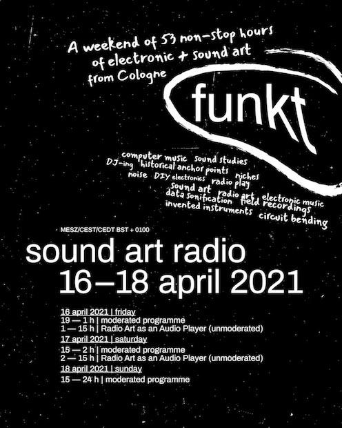 digitaler Image-Flyer für FUNKT das Sound Art Radio. Wirkt Handgeschrieben und scheinbar zufällig auf der Seite verteilt, weißer Text auf schwarzem Grund.